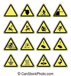 hazard, advarsel, sundhed, og, sikkerhed