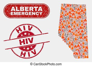 Hazard and Emergency Collage of Alberta Province Map and ...