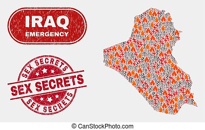Hazard and Emergency Collage of Iraq Map and Scratched Secrets Stamp