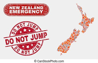 Hazard and Emergency Collage of New Zealand Map and Scratched Do Not Jump Stamp Seal