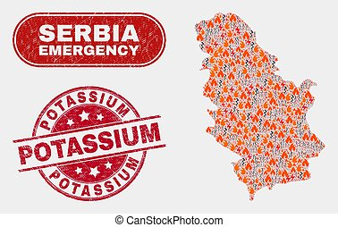Hazard and Emergency Collage of Serbia Map and Scratched ...