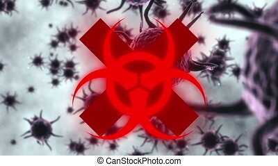 Animation of a red biological hazard icon flashing over macro covid-19 cells floating in the background. Coronavirus Covid-19 pandemic concept digital composite.