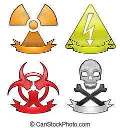 Hazard icons with banners - Four glossy hazard icons with ...