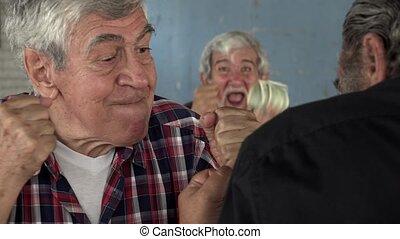 hazard, na, stary, mężczyźni bojowi