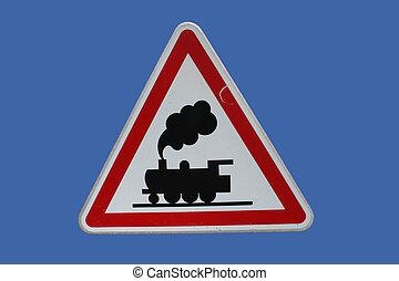 Railway crossing sign - hazard Railway crossing sign ahead