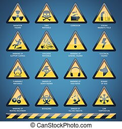 Hazard Signs Set