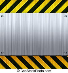 Hazard Stripes Brushed Metal - A riveted 3d brushed metal ...