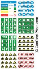 hazard, sundhed, og, sikkerhed, tegn