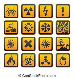 hazard, symboler, appelsin, vectors, tegn