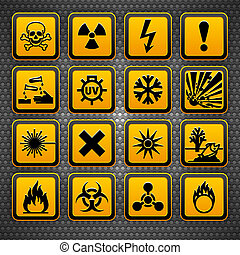 Hazard symbols orange vectors sign