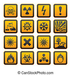 Hazard symbols orange vectors sign, rounded corners