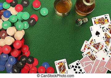 hazard, tło, stół