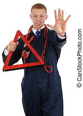 Hazard warning - A guy with a hazard warning triangle and a...
