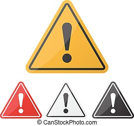 Hazard warning attention sign set. Danger sign. Exclamation point