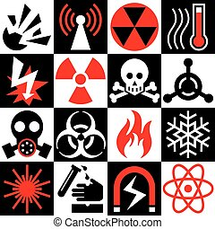 Hazard Warning Icons in Red-Black-White