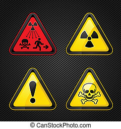 Hazard warning set attention symbols - Triangular Warning...