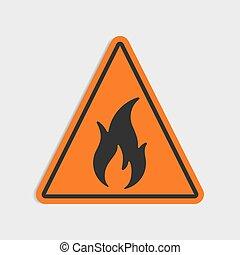 Hazard warning sign. Flammable