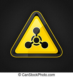 Hazard warning triangle chemical weapon sign on a metal surface