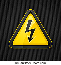 Hazard warning triangle high voltage sign on a metal surface...