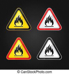 Hazard warning triangle highly flammable warning set sign