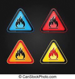 Hazard warning triangle highly flammable warning set symbols
