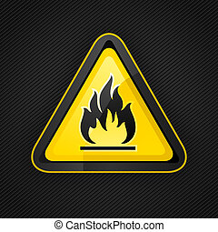 Hazard warning triangle highly flammable warning sign on a metal surface, 10eps