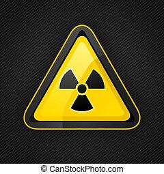 Hazard warning triangle radioactive sign