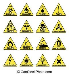 Hazard warning triangual yellow icon set on white