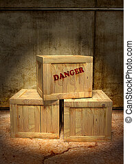 Hazardous content - Mysterious crates in a storage depot. ...