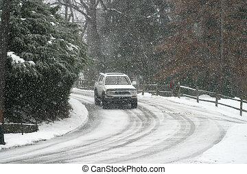 Hazardous Driving  - car on snowy road