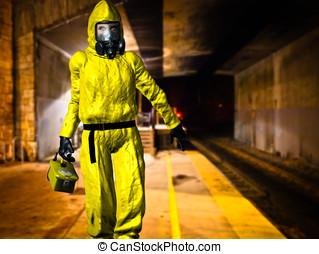 Hazardous Material Inspector - Dressed in yellow HAZMAT...