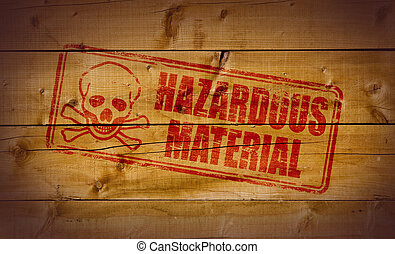 Hazardous Material stamp on wooden background
