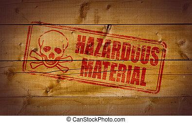 Hazardous Material stamp on wooden background