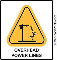 Hazardous voltage above. Overhead power lines or electrical safety sign danger overhead power lines. Vector warning banner with symbol in yellow triangle.