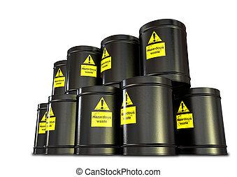 Hazardous Waste Barrel Stack - A stack of black metal...