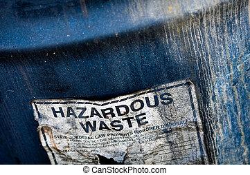 Hazardous Waste - Hazardous and Toxic Waste Barrels storing...