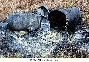 Hazardous waste. Spillage of toxic waste in nature - ...