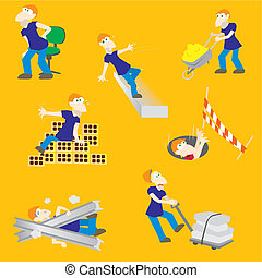 Hazards construction accident worker - Vector illustration...