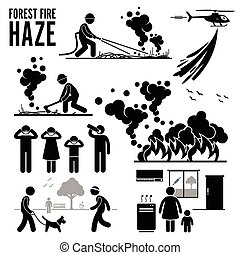 Haze Forest Fire Icons Pictogram - Pictogram of forest fire...
