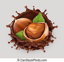 Hazelnut and chocolate splash. Realistic illustration. 3d...