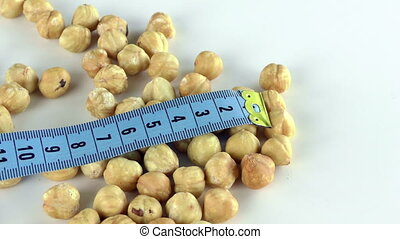 Hazelnut and Measurement Macro View