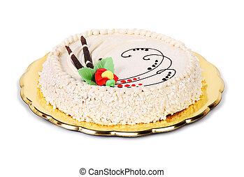 hazelnut cake isolated on white background
