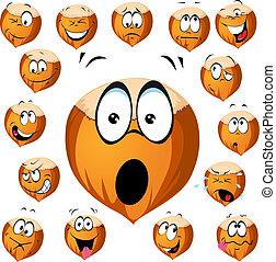 hazelnut cartoon with many expressions