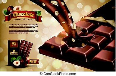 hazelnut flavor chocolate ad, bokeh background, 3d illustration