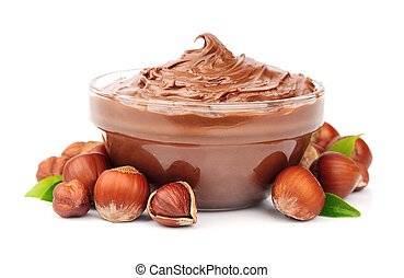 Hazelnut cream with hazelnut nuts