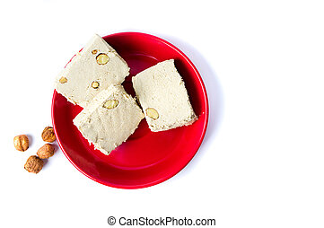 Hazelnut halva slices on a plate