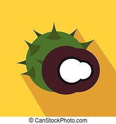 Hazelnut icon in flat style