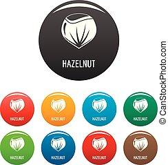 Hazelnut icons set color