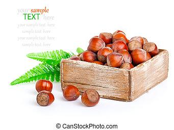 hazelnut in the wooden box.