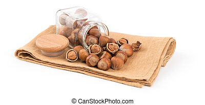 Hazelnut isolated on white background.